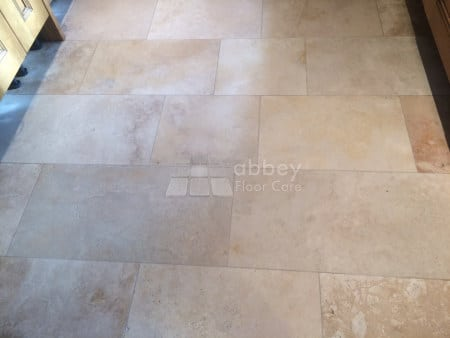 Travertine floor after deep cleaning and pressurised water rinsing