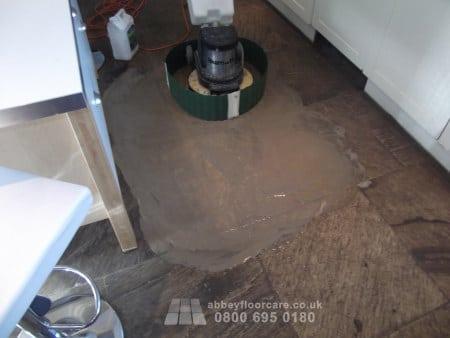 scrubbing indian sandstone floor
