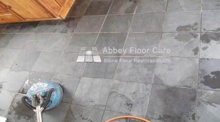 pressure rinsing slate floor in matlock derbyshire