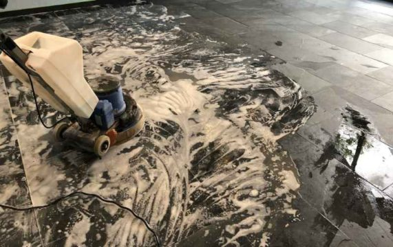 Brazilian Slate Floor During Cleaning Abergavenny Abbey Floor Care