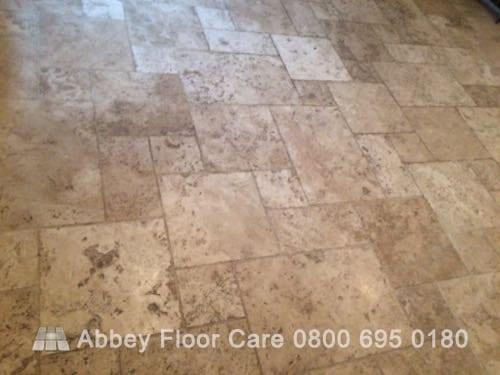 cleaning tumbled travertine tile in Brassington Matlock Derbyshire