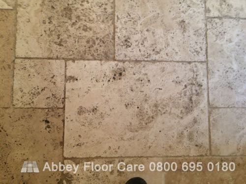 cleaning tumbled travertine tile Brassington Matlock Derbyshire DE4