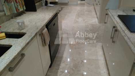 a polished marble kitchen floor in warwickshire cv34