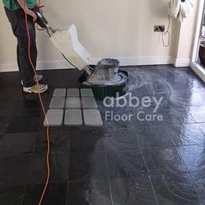 scrubbing slate tiles