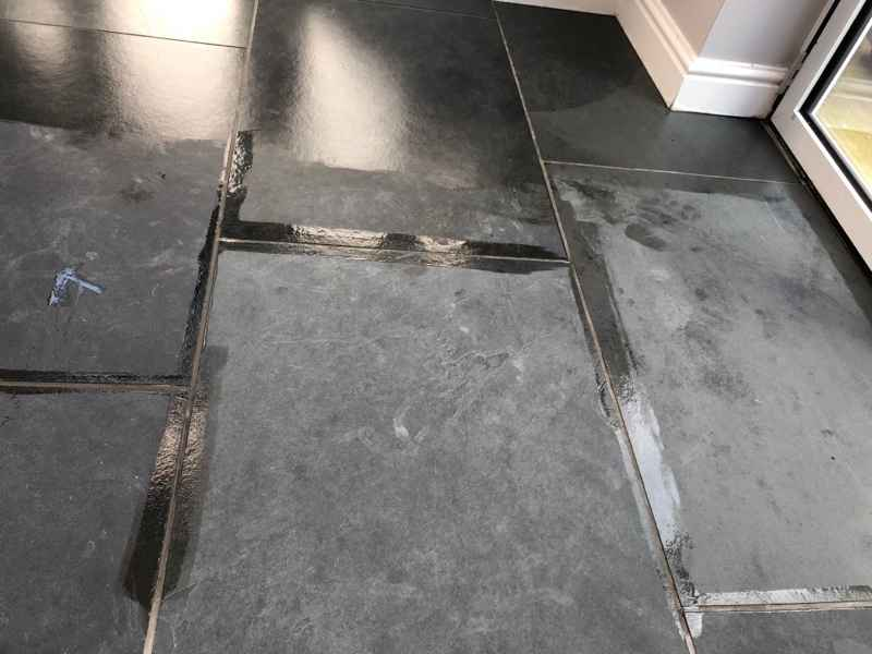 Slate Floor In Priddy Somerset During Sealing Abbey Floor Care