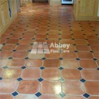 Terracotta with inlay tiles restored by Abbey Floor Care