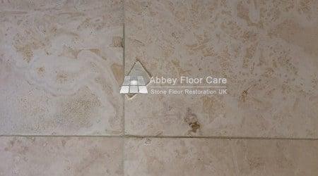 travertine tiles in balderton newark filled with hard filler