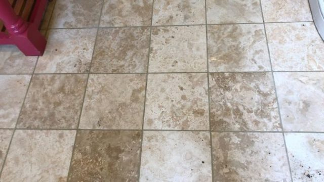 Travertine Floor In Haslingden Rossendale Lancashire After Pressure Rinsing Abbey Floor Care