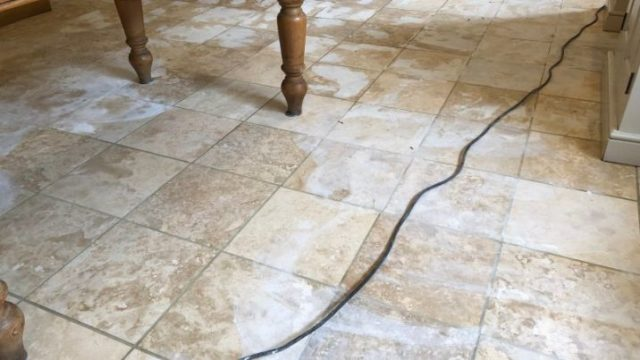 Travertine Floor In Haslingden Rossendale Lancashire Grout Filled After Cleaning Abbey Floor Care