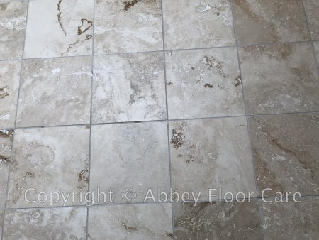 Travertine epoxy grout filling blackheath london - abbey floor care