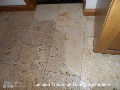 tumbled-travertine-undergoing-restoration